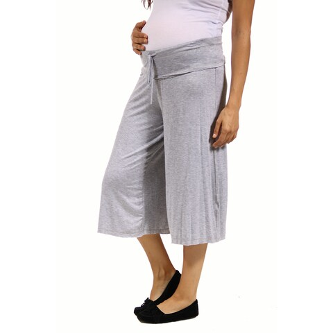 24/7 Comfort Apparel Women's Maternity Draw String Knee-Length Pant