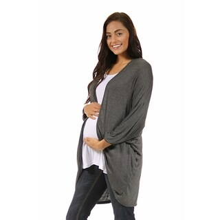 24/7 Comfort Apparel Women's Maternity Dolman Sleeve Oversized Long Shrug (Option: 3x)