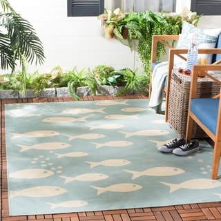 Safavieh Courtyard Goldfish Aqua/ Beige Indoor/ Outdoor Rug (6'7 x 9'6)
