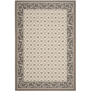 Safavieh Indoor/ Outdoor Courtyard Beige/ Dark Beige Rug (5'3 x 7'7)