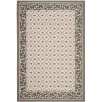 Safavieh Indoor/ Outdoor Courtyard Beige/ Dark Beige Rug - 5'3 x 7'7