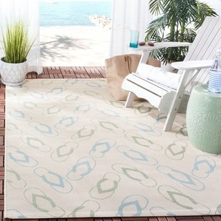 Safavieh Indoor/ Outdoor Courtyard Beige/ Aqua Rug (5'3 x 7'7)