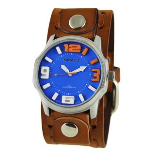 Nemesis Blue/Orange Embossed 3D Men's Watch with Brown Wide Weaving Leather Cuff Band