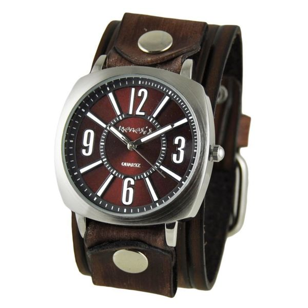 Nemesis Burgundy 'Comely' Unisex Watch with Vintage Brown Embossed Stripes Leather Cuff Band. Opens flyout.