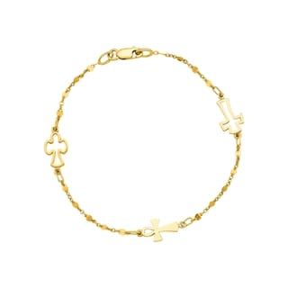 14k Yellow Gold 7-inch Cross Linked Chain Bracelet
