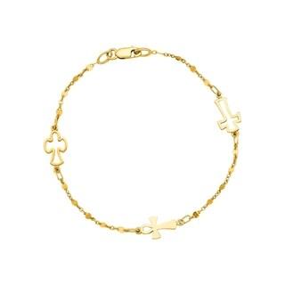 14k Yellow Gold 7-inch Cross Linked Chain Bracelet