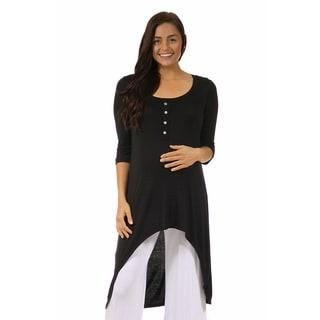 24/7 Comfort Apparel Women's Maternity 3/4-sleeve Extra-long Tunic