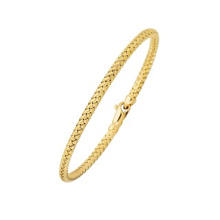 14k Yellow Gold 7.25-inch 3.4mm Basketweave Bangle