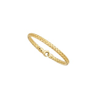 14k Yellow Gold 7.25-inch 5.5mm Basketweave Bangle with Lock