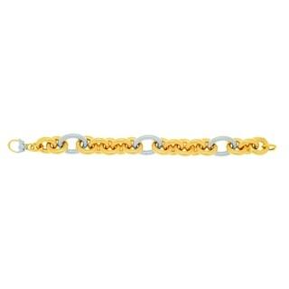 14k 8.25-inch Three-tone Gold Shiny Bulky Oval Link Bracelet