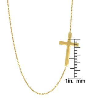 14k Yellow Gold 18-inch 1.05mm Shiny Oval Cable Cross Necklace