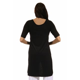 24/7 Comfort Apparel Women's High-low 3/4-sleeve Extra Long Maternity Tunic Top