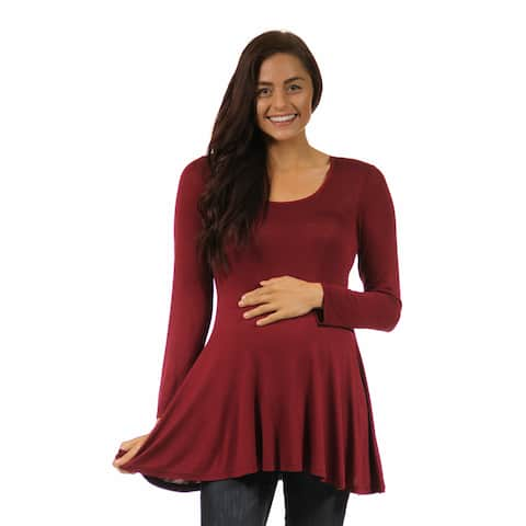 24/7 Comfort Apparel Women's Long-sleeve Scoop Neck Maternity Tunic Top