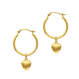 14k Yellow Gold Pol Puff Heart Hoop Like Earring