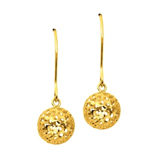 14k Yellow Gold 8 x 25mm Hammered Ball Dangle Earrings