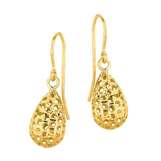 14k Yellow Gold Puffed Tear Drop Wickwork Earring