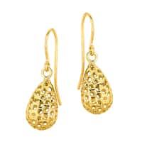 14k Yellow Gold Puffed Tear Drop Wickwork Earring