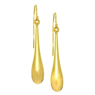 14k Yellow Gold Long Puffed Teardrop Earrings