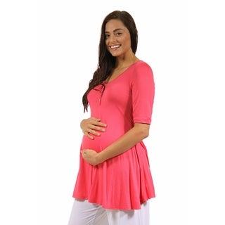 24/7 Comfort Apparel Women's Henley Neck Maternity Tunic