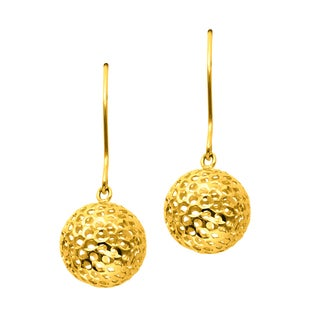 14k Yellow Gold Hammered 1-Ball Dangle Earring