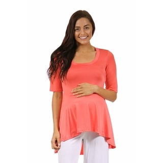 24/7 Comfort Apparel Women's High-low Elbow-length Maternity Tunic