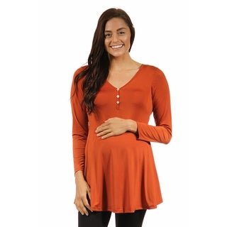 24/7 Comfort Apparel Women's Long Sleeve Three Button Maternity Henley Tunic Top