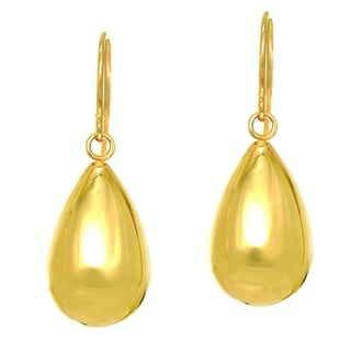 14k Yellow Gold All Shiny Puffed Teardrop Drop Earring