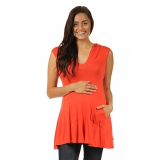 24/7 Comfort Apparel Women's Sleeveless Maternitytunic Hoodie with A Kangaroo Pocket