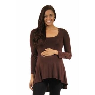 24/7 Comfort Apparel Women's Long Sleeve High-low Maternity Tunic Top