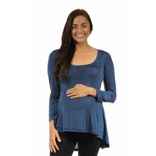 24/7 Comfort Apparel Women's Long Sleeve High-low Maternity Tunic Top