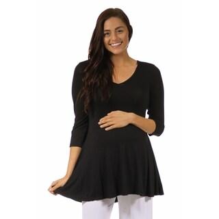 24/7 Comfort Apparel Women's 3/4 Maternity Sleeve V-neck Tunic