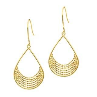 14k Yellow Gold Pol Teardrop Beaded Fancy Earring
