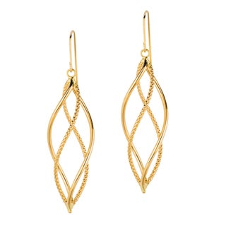 14k Yellow Gold Pol Double Row Free Shape Dangle Earring