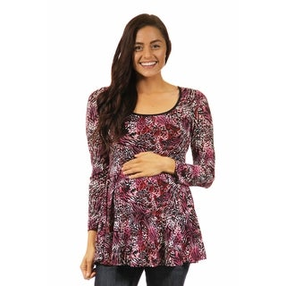 24/7 Comfort Apparel Women's Maternity Abstract Animal Print Tunic