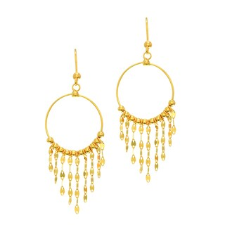 14k Yellow Gold Shiny Chandelier Earrings