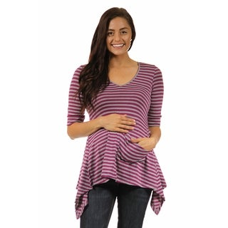 24/7 Comfort Apparel Women's Maternity Magenta-grey Striped High-low Tunic