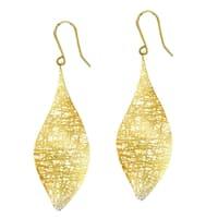 14k Yellow Gold Fancy Long Curved Leaf Dangle Earring
