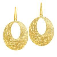 14k Yellow Gold Bird Nest Textured Oval Earrings