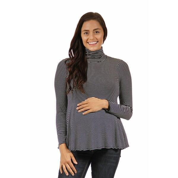 24/7 Comfort Apparel Women's Striped Maternity Turtleneck Sweater