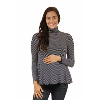 24/7 Comfort Apparel Women's Striped Maternity Turtleneck Sweater