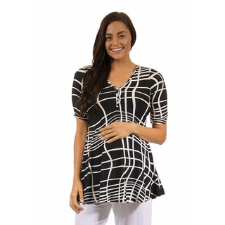 24/7 Comfort Apparel Women's Abstract Maternity Stripe Henley Tunic Top