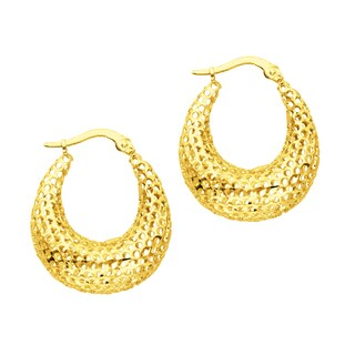 14k Gold Mesh Open Dangling Earrings in White or Yellow Gold Finish