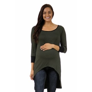 24/7 Comfort Apparel Women's Maternity Stripe Print High-low Extra Long Tunic