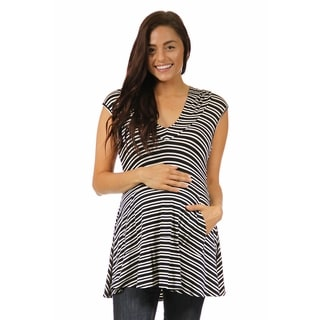 24/7 Comfort Apparel Black and White Maternity Stripe Printed Tunic