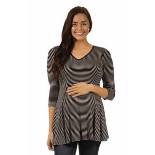 24/7 Comfort Apparel Women's 3/4 Maternity Sleeve Striped V-neck Tunic