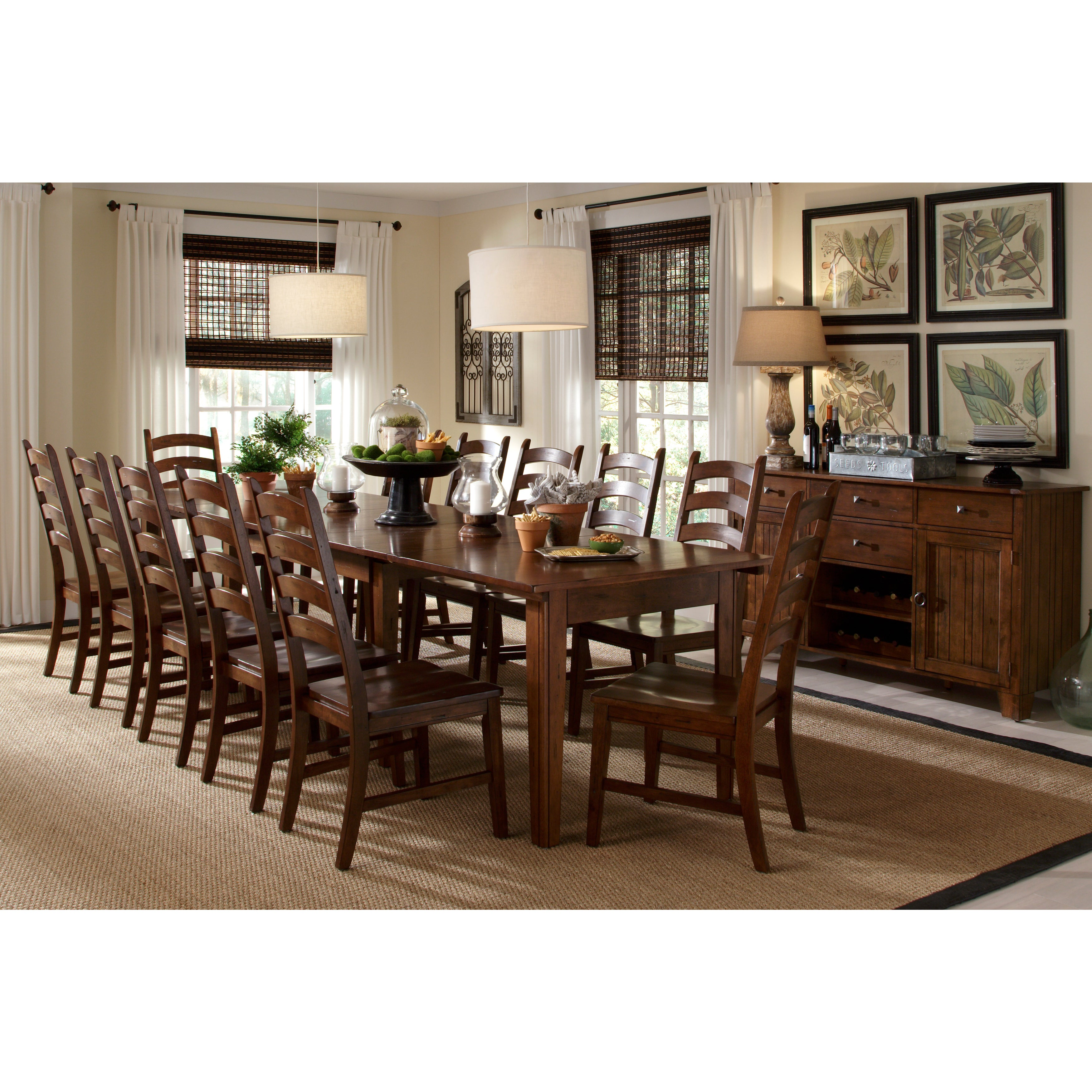 Auden Solid Wood 13-piece Expandable Dining Table Set (Di...