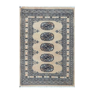 Herat Oriental Pakistani Hand-knotted Bokhara Beige/ Ivory Wool Rug (2' x 2'11)