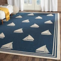 Safavieh Indoor/ Outdoor Courtyard Navy/ Beige Rug - 9' x 12'