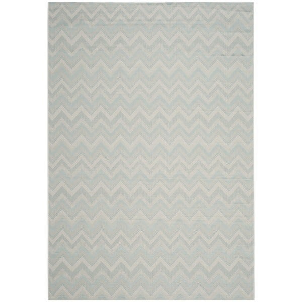 Safavieh Courtyard Chevron Light Grey/ Aqua Indoor/ Outdoor Rug - 9' x 12'
