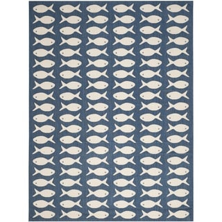 Safavieh Courtyard Goldfish Navy/ Beige Indoor/ Outdoor Rug (9' x 12')